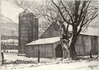 Luigi Lucioni (American, born Italy, 1900-1988). <em>Silo and Barn in Winter</em>, 1942. Etching on Japan paper, Plate: 4 1/4 x 6 in. (10.8 x 15.2 cm). Brooklyn Museum, Gift of Mrs. Horace O. Havemeyer, 54.35.17 (Photo: Brooklyn Museum, CUR.54.35.17.jpg)