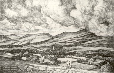 Luigi Lucioni (American, born Italy, 1900-1988). <em>Landscape with Clouds</em>, 1940. Etching and drypoint on Japan paper, Plate: 3 1/2 x 5 3/8 in. (8.9 x 13.7 cm). Brooklyn Museum, Gift of Mrs. Horace O. Havemeyer, 54.35.18 (Photo: Brooklyn Museum, CUR.54.35.18.jpg)
