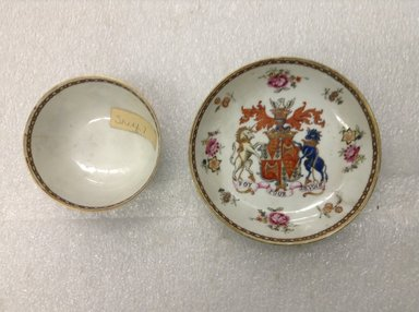 <em>Cup and Saucer</em>, ca.1750. Porcelain, cup: 1 5/8 x 3 in. (4.1 x 7.6 cm). Brooklyn Museum, The Helena Woolworth McCann Trade Procelain Collection, Gift of the Winfield Foundation, 55.10.119a-b. Creative Commons-BY (Photo: Brooklyn Museum, CUR.55.10.119a-b_front.jpg)
