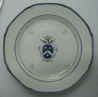 <em>Plate</em>, ca. 1790. Porcelain, 9 1/4 in. (23.5 cm). Brooklyn Museum, The Helena Woolworth McCann Trade Procelain Collection, Gift of the Winfield Foundation, 55.10.41. Creative Commons-BY (Photo: Brooklyn Museum, CUR.55.10.41_top.jpg)