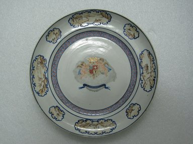 <em>Plate</em>, 1785-1800. Porcelain, 9 3/4 in. (24.8 cm). Brooklyn Museum, The Helena Woolworth McCann Trade Procelain Collection, Gift of the Winfield Foundation, 55.10.81. Creative Commons-BY (Photo: Brooklyn Museum, CUR.55.10.81_top.jpg)