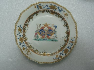 <em>Plate</em>, 1760-1770. Porcelain, 8 7/8 in. (22.5 cm). Brooklyn Museum, The Helena Woolworth McCann Trade Procelain Collection, Gift of the Winfield Foundation, 55.10.95. Creative Commons-BY (Photo: Brooklyn Museum, CUR.55.10.95_top.jpg)