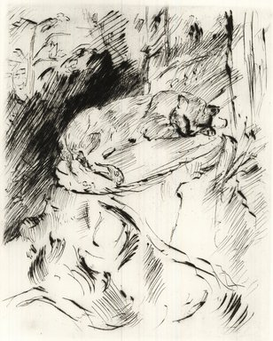 Lovis Corinth (German, 1858-1925). <em>Cat on a Tree Trunk (Katze auf Baumstrunk)</em>, 1920. Etching and drypoint on wove paper, Image (Plate): 9 5/8 x 7 7/8 in. (24.4 x 20 cm). Brooklyn Museum, Gift of Benjamin Weiss, 55.113.14 (Photo: Brooklyn Museum, CUR.55.113.14.jpg)