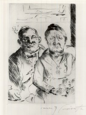 Lovis Corinth (German, 1858-1925). <em>East Prussian Couple (Ostpreussisches Ehepaar)</em>, 1916. Drypoint on thin Japan paper, Image: 7 x 4 1/2 in. (17.8 x 11.4 cm). Brooklyn Museum, Gift of Benjamin Weiss, 55.113.15 (Photo: Brooklyn Museum, CUR.55.113.15.jpg)