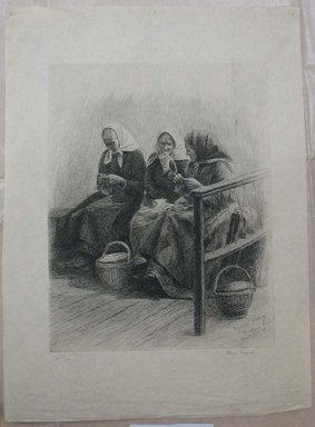 Oscar Grosch (American, 1863-1928). <em>Three Women Knitting</em>, 1908. Etching and drypoint, Sheet: 16 5/16 x 12 in. (41.5 x 30.5 cm). Brooklyn Museum, Gift of Margaret Grosch Williams, 55.164.7 (Photo: Brooklyn Museum, CUR.55.164.7.jpg)