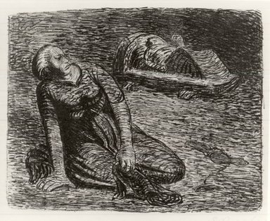 Ernst Barlach (German, 1870-1938). <em>The Bloodstains 2 (Der Blutflecken 2)</em>, 1912. Lithograph on wove buff paper, Image: 7 15/16 x 10 1/16 in. (20.2 x 25.6 cm). Brooklyn Museum, Gift of Dr. F.H. Hirschland, 55.165.105 (Photo: Brooklyn Museum, CUR.55.165.105.jpg)