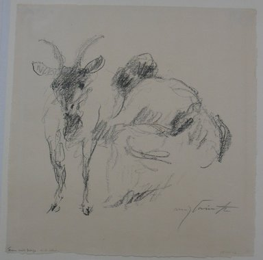 Lovis Corinth (German, 1858-1925). <em>Woman, Milking Goat (Urfeld) (Frau, Ziege melkend [Urfeld])</em>, 1920-1921. Lithograph on laid paper, Image: 11 x 12 3/16 in. (27.9 x 31 cm). Brooklyn Museum, Gift of Dr. F.H. Hirschland, 55.165.70 (Photo: Brooklyn Museum, CUR.55.165.70.jpg)