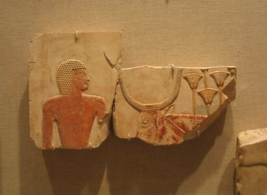 Egyptian. <em>Scene of Animal Husbandry</em>, ca. 670-650 B.C.E. Limestone, pigment, 5 5/8 x 10 1/16 in. (14.3 x 25.6 cm). Brooklyn Museum, Charles Edwin Wilbour Fund, 55.3.1a-b. Creative Commons-BY (Photo: Brooklyn Museum, CUR.55.3.1a-b_wwg8.jpg)
