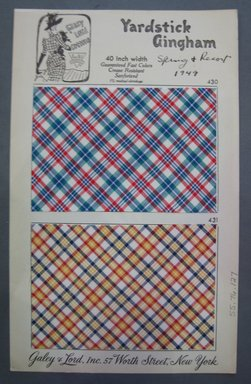 Galey & Lord. <em>Textile Swatch</em>, 1949. Cotton, card: 5 3/4 x 9 3/4 in. (14.6 x 24.8 cm). Brooklyn Museum, Gift of Galey & Lord, 55.76.127 (Photo: Brooklyn Museum, CUR.55.76.127.jpg)