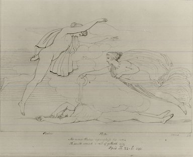John Flaxman (British, 1755-1826). <em>Death of Heactor from Pope's Illiad</em>. Ink on paper, sheet: 8 3/4 x 11 in. (22.2 x 27.9 cm). Brooklyn Museum, Gift of Emily Winthrop Miles, 55.9.26 (Photo: Brooklyn Museum, CUR.55.9.26.jpg)