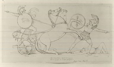 John Flaxman (British, 1755-1826). <em>Drawing for Pope's Illiad</em>. Ink on paper, 6 3/4 x 14 in. (17.1 x 35.6 cm). Brooklyn Museum, Gift of Emily Winthrop Miles, 55.9.27 (Photo: Brooklyn Museum, CUR.55.9.27.jpg)