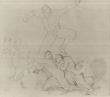 John Flaxman (British, 1755-1826). <em>Prometheus Bound</em>. Pencil and pen drawing on wove paper, Sheet: 11 x 12 1/4 in. (27.9 x 31.1 cm). Brooklyn Museum, Gift of Emily Winthrop Miles, 55.9.28 (Photo: Brooklyn Museum, CUR.55.9.28.jpg)