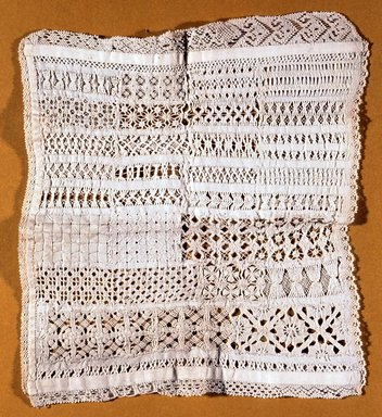 """<em>Square """"Sampler,""""</em> 1800-1825. Lace, 7 1/2 x 8 in. (19.1 x 20.3 cm). Brooklyn Museum, Gift of Adelaide Goan, 55.96.123b. Creative Commons-BY (Photo: Brooklyn Museum, CUR.55.96.123b.jpg)"""