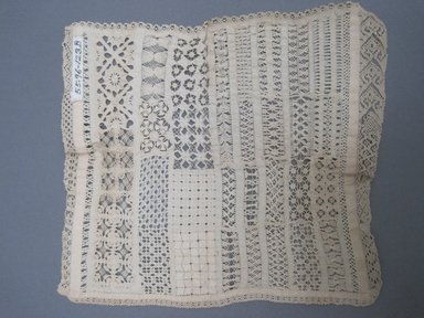 "<em>Square ""Sampler,""</em> 1800-1825. Lace, 7 1/2 x 8 in. (19.1 x 20.3 cm). Brooklyn Museum, Gift of Adelaide Goan, 55.96.123b. Creative Commons-BY (Photo: Brooklyn Museum, CUR.55.96.123b_view2.jpg)"