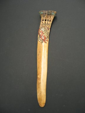 Ica. <em>Ceremonial Weaving Knife</em>, 1300-1400. Bone, shell, feathers, 2 3/8 x 11 1/4 in. (6.1 x 28.6 cm). Brooklyn Museum, By exchange, 56.190.2. Creative Commons-BY (Photo: Brooklyn Museum, CUR.56.190.2.jpg)