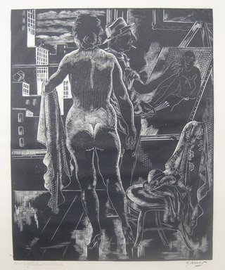 Emil Ganso (American, 1895-1941). <em>Self Portrait with Nude</em>, 1930. Wood engraving on Japan paper, 10 1/16 x 8 1/8 in. (25.6 x 20.6 cm). Brooklyn Museum, Gift of Erhart Weyhe, 56.4.11 (Photo: Brooklyn Museum, CUR.56.4.11.jpg)