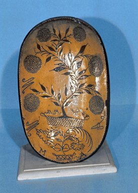 American. <em>Sgraffito Dish</em>, 1803. Earthenware, 1 7/8 x 11 3/4 in. (4.8 x 29.8 cm). Brooklyn Museum, Gift of Mrs. Huldah Cail Lorimer in memory of George Burford Lorimer, 56.5.7. Creative Commons-BY (Photo: Brooklyn Museum, CUR.56.5.7.jpg)