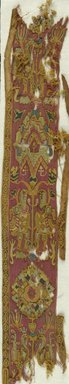 Coptic. <em>Band Fragment with Animal and Botanical Decoration</em>, 5th century C.E. Flax, wool, 57.120.1a: 3 3/4 x 28 in. (9.5 x 71.1 cm). Brooklyn Museum, Anonymous gift, 57.120.1a-b. Creative Commons-BY (Photo: Brooklyn Museum (in collaboration with Index of Christian Art, Princeton University), CUR.57.120.1A_ICA.jpg)