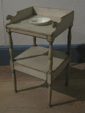 American. <em>Miniature Washstand</em>, ca. 1835. Painted pine, 17 x 9 3/8 x 9 in. (43.2 x 23.8 x 22.9 cm). Brooklyn Museum, Gift of Mrs. Charles E. Rogers, Jr., 57.181.3. Creative Commons-BY (Photo: , CUR.57.181.3_57.181.4_threequarter.jpg)