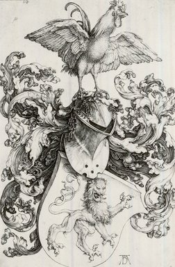 Albrecht Dürer (German, 1471-1528). <em>The Coat of Arms with Lion and Rooster</em>, 1503. Engraving on laid paper, 7 1/4 x 4 3/4 in. (18.4 x 12.1 cm). Brooklyn Museum, Gift of Mrs. Charles Pratt, 57.188.12 (Photo: Brooklyn Museum, CUR.57.188.12.jpg)