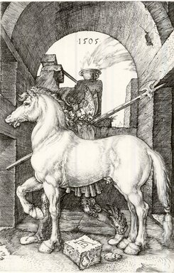 Albrecht Dürer (German, 1471-1528). <em>The Little Horse</em>, 1505. Engraving on laid paper, 6 3/8 x 4 3/16 in. (16.2 x 10.6 cm). Brooklyn Museum, Gift of Mrs. Charles Pratt, 57.188.14 (Photo: Brooklyn Museum, CUR.57.188.14.jpg)