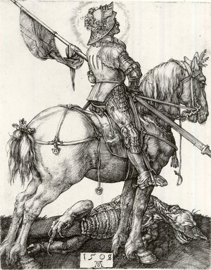 Albrecht Dürer (German, 1471-1528). <em>Saint George and the Dragon</em>, 1508. Engraving on laid paper, 4 1/4 x 3 3/8 in. (10.8 x 8.6 cm). Brooklyn Museum, Gift of Mrs. Charles Pratt, 57.188.15 (Photo: Brooklyn Museum, CUR.57.188.15.jpg)