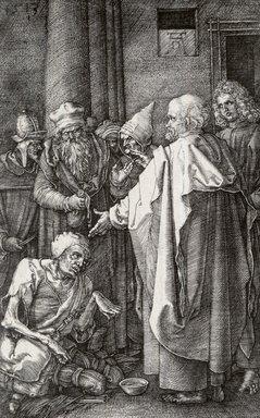 Albrecht Dürer (German, 1471-1528). <em>Saint Peter and John Healing a Cripple</em>, 1513. Engraving on laid paper, Sheet: 4 5/8 x 2 7/8 in. (11.7 x 7.3 cm). Brooklyn Museum, Gift of Mrs. Charles Pratt, 57.188.17 (Photo: Brooklyn Museum, CUR.57.188.17.jpg)