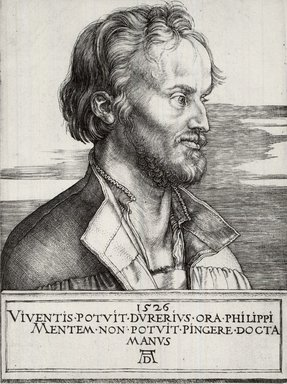 Albrecht Dürer (German, 1471-1528). <em>Phillip Melanchthon</em>, 1526. Engraving on laid paper, 6 3/4 x 5 in. (17.1 x 12.7 cm). Brooklyn Museum, Gift of Mrs. Charles Pratt, 57.188.20 (Photo: Brooklyn Museum, CUR.57.188.20.jpg)