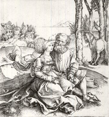 Albrecht Dürer (German, 1471-1528). <em>The Offer of Love</em>, ca. 1496. Etching on laid paper, 5 7/8 x 5 1/2 in. (14.9 x 14 cm). Brooklyn Museum, Gift of Mrs. Charles Pratt, 57.188.21 (Photo: Brooklyn Museum, CUR.57.188.21.jpg)
