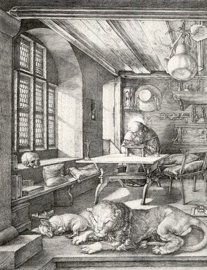 Albrecht Dürer (German, 1471-1528). <em>St. Jerome in His Study</em>, 1515. Engraving on laid paper, 9 5/8 x 7 1/4 in. (24.4 x 18.4 cm). Brooklyn Museum, Gift of Mrs. Charles Pratt, 57.188.23 (Photo: Brooklyn Museum, CUR.57.188.23.jpg)