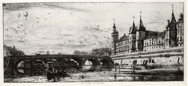 Charles Méryon (French, 1821-1868). <em>Le Pont - Au - Change</em>, 1854. Etching on laid paper, 6 1/8 x 13 in. (15.5 x 33 cm). Brooklyn Museum, Gift of Mrs. Charles Pratt, 57.188.32 (Photo: Brooklyn Museum, CUR.57.188.32.jpg)