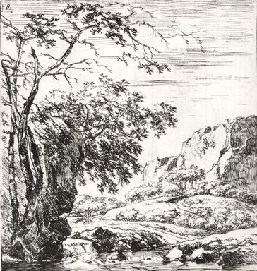Herman Nauwincx (Dutch, ca. 1623- ca.1654). <em>Set of Eight Landscapes, No. 8</em>. Etching on laid paper, 5 1/4 x 4 13/16 in. (13.4 x 12.2 cm). Brooklyn Museum, Gift of Mrs. Charles Pratt, 57.188.44 (Photo: Brooklyn Museum, CUR.57.188.44.jpg)