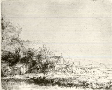 Rembrandt Harmensz. van Rijn (Dutch, 1606-1669). <em>Landscape with a Cow Drinking</em>, ca. 1650. Etching and drypoint on laid paper, Plate: 4 1/8 x 5 1/8 in. (10.5 x 13 cm). Brooklyn Museum, Gift of Mrs. Charles Pratt, 57.188.57 (Photo: Brooklyn Museum, CUR.57.188.57.jpg)