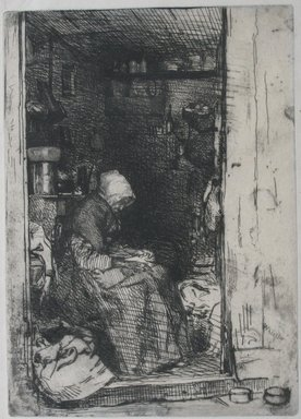 James Abbott McNeill Whistler (American, 1834-1903). <em>La Vielle aux Loques</em>, 1858. Etching on paper, Image: 8 1/8 x 5 13/16 in. (20.6 x 14.8 cm). Brooklyn Museum, Gift of Mrs. Charles Pratt, 57.188.62 (Photo: Brooklyn Museum, CUR.57.188.62.jpg)