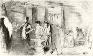 James Abbott McNeill Whistler (American, 1834-1903). <em>The Forge</em>, 1861. Etching on tissue paper, Image: 7 3/8 x 12 3/8 in. (18.7 x 31.4 cm). Brooklyn Museum, Gift of Mrs. Charles Pratt, 57.188.66 (Photo: Brooklyn Museum, CUR.57.188.66_print.jpg)