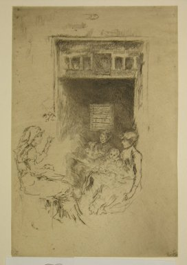 James Abbott McNeill Whistler (American, 1834-1903). <em>Bead Stringers</em>, 1886. Etching, 8 15/16 x 6 in. (22.7 x 15.2 cm). Brooklyn Museum, Gift of Mrs. Charles Pratt, 57.188.68 (Photo: Brooklyn Museum, CUR.57.188.68.jpg)