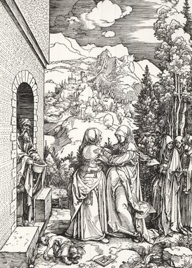 Albrecht Dürer (German, 1471-1528). <em>The Visitation from the Life of the Virgin</em>, ca. 1503. Woodcut on laid paper, 12 1/16 x 9 1/16 in. (30.6 x 23 cm). Brooklyn Museum, Gift of Mrs. Charles Pratt, 57.188.7 (Photo: Brooklyn Museum, CUR.57.188.7.jpg)
