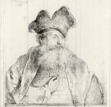 Rembrandt Harmensz. van Rijn (Dutch, 1606-1669). <em>Old Man with a Divided Fur Cap</em>, 1640. Etching on laid paper, Plate: 5 15/16 x 5 7/16 in. (15.1 x 13.8 cm). Brooklyn Museum, Gift of Mrs. Charles Pratt, 57.188.78 (Photo: Brooklyn Museum, CUR.57.188.78.jpg)