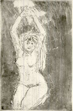 Emil Nolde (German, 1867-1956). <em>Nude Model with Arms Upraised (Akt mit erhobenen Armen)</em>, 1908. Etching, drypoint and tonal effects in sepia ink on heavy wove paper, Image (Plate): 18 1/2 x 12 in. (47 x 30.5 cm). Brooklyn Museum, Carll H. de Silver Fund, 57.194.2 (Photo: Brooklyn Museum, CUR.57.194.2.jpg)