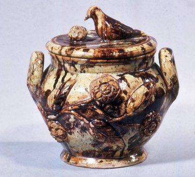 Anthony Wise Baecher (American, 1824-1889). <em>Sugar Bowl</em>, ca. 1870-1887. Glazed earthenware, 6 1/2 x 4 3/8 in. (16.5 x 11.1 cm). Brooklyn Museum, Gift of Huldah Cail Lorimer in memory of George Burford Lorimer, 57.75.6. Creative Commons-BY (Photo: Brooklyn Museum, CUR.57.75.6.jpg)