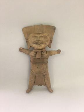 Totonac. <em>Whistle</em>, circa 600-700. Ceramic, traces of pigment, 11 3/8 × 6 13/16 × 2 1/4 in. (28.9 × 17.3 × 5.7 cm). Brooklyn Museum, Caroline A.L. Pratt Fund, 58.185. Creative Commons-BY (Photo: , CUR.58.185.jpg)