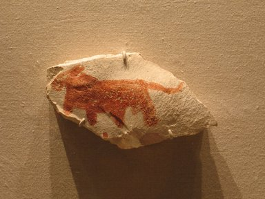 <em>Decorated Ostrakon</em>, ca. 1336-1295 B.C.E. Limestone, pigment, 3 13/16 x 6 7/8 in. (9.7 x 17.5 cm). Brooklyn Museum, Charles Edwin Wilbour Fund, 58.28.1. Creative Commons-BY (Photo: Brooklyn Museum, CUR.58.28.1_wwg8.jpg)