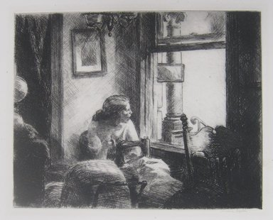 Edward Hopper (American, 1882-1967). <em>East Side Interior</em>, 1922. Etching on paper, Sheet: 13 1/8 x 16 1/4 in. (33.3 x 41.3 cm). Brooklyn Museum, Dick S. Ramsay Fund, 58.49. © artist or artist's estate (Photo: Brooklyn Museum, CUR.58.49.jpg)