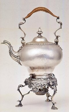 <em>Tea Kettle on Stand</em>, 1761-1762. Silver, 8 1/4 × 2 7/8 in. (21 × 7.3 cm). Brooklyn Museum, Gift of Donald S. and Pearl D. Morrison, 59.138. Creative Commons-BY (Photo: Brooklyn Museum, CUR.59.138.jpg)