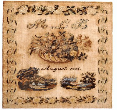 American. <em>Sampler</em>, 1836. Wood on linen, 17 3/4 x 17 1/4 in. (45.1 x 43.8 cm). Brooklyn Museum, Gift of Mrs. Alfred Zoebisch, 59.143.37. Creative Commons-BY (Photo: Brooklyn Museum, CUR.59.143.37.jpg)