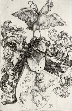 Albrecht Dürer (German, 1471-1528). <em>Coat of Arms with Lion and Rooster</em>, 1503. Engraving on laid paper, 7 5/16 x 4 3/4 in. (18.5 x 12 cm). Brooklyn Museum, Gift of Katharine Kuh in memory of Edgar C. Schenck, 59.235.1 (Photo: Brooklyn Museum, CUR.59.235.1.jpg)