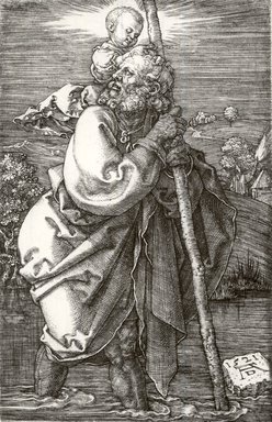 Albrecht Dürer (German, 1471-1528). <em>Saint Christopher with Head Turned Back</em>, 1521. Engraving on laid paper, Sheet: 4 5/8 x 2 7/8 in. (11.7 x 7.3 cm). Brooklyn Museum, Gift of Katharine Kuh in memory of Edgar C. Schenck, 59.235.2 (Photo: Brooklyn Museum, CUR.59.235.2.jpg)