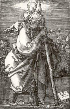 Albrecht Dürer (German, 1471-1528). <em>Saint Christopher with Head Turned Back</em>, 1521. Engraving on laid paper, Sheet: 4 5/8 x 2 7/8 in. (11.7 x 7.3 cm). Brooklyn Museum, Gift of Katharine Kuh in memory of Edgar C. Schenck, 59.235.2 (Photo: Brooklyn Museum, CUR.59.235.2.jpg)