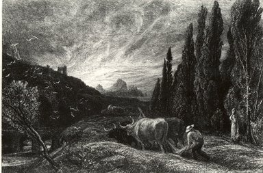 Samuel Palmer (British, 1805-1881). <em>The Early Ploughman</em>. Etching on laid paper, Plate: 7 x 9 3/4 in. (17.8 x 24.8 cm). Brooklyn Museum, Gift of Mrs. Howard M. Morse, 59.53.9 (Photo: Brooklyn Museum, CUR.59.53.9.jpg)