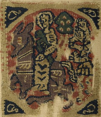 Coptic. <em>Flight of the Holy Family into Egypt</em>, 5th-6th century C.E. Wool, 4 7/8 x 4 1/4 in. (12.4 x 10.8 cm). Brooklyn Museum, Gift of Dr. Lillian Malcove, 59.54. Creative Commons-BY (Photo: Brooklyn Museum (in collaboration with Index of Christian Art, Princeton University), CUR.59.54_ICA.jpg)